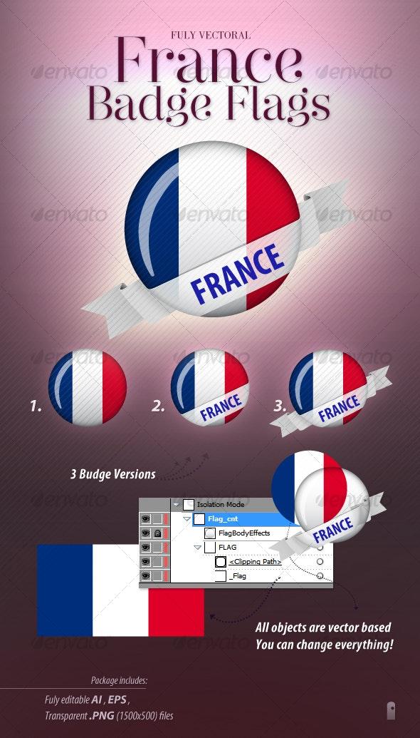 French Flag Badge - Decorative Graphics