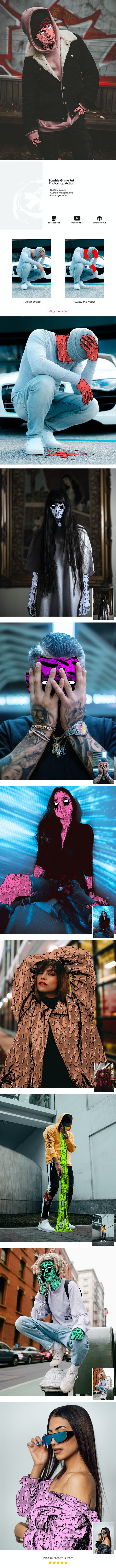 Zombie Grime Art Photoshop Action - Photo Effects Actions