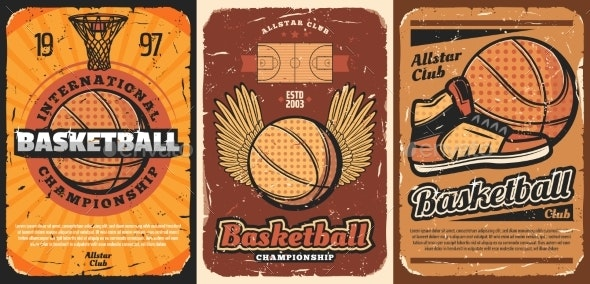 Basketball Sport Court with Balls and Basket Hoop - Sports/Activity Conceptual