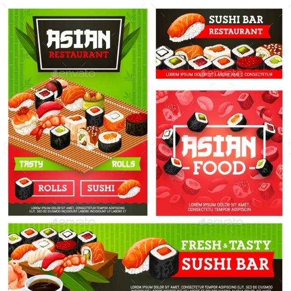 Sushi Rolls, Nigiri, Maki. Japane Restaurant Menu