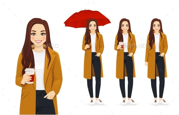 Autumn Woman with Coffee - People Characters