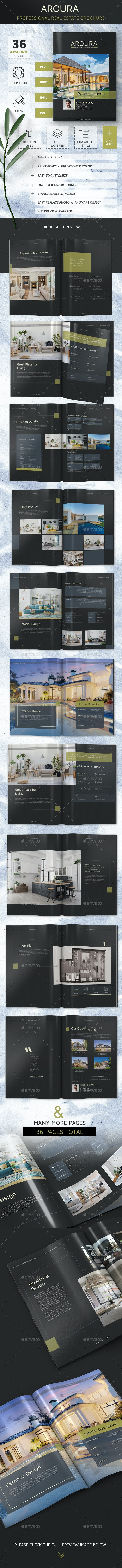 Real Estate Brochure - Aroura Dark Version - Portfolio Brochures