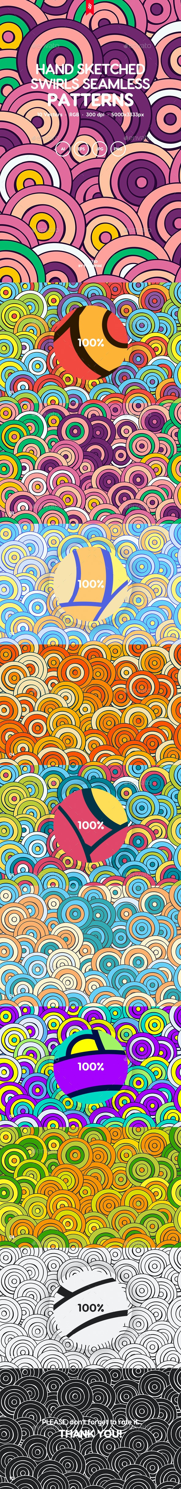 Colorful Hand Sketched Swirls Seamless Patterns - Patterns Backgrounds