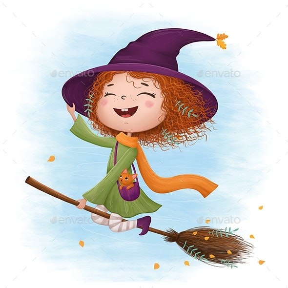 Funny Little Witch Flying on a Broomstick - Graphics