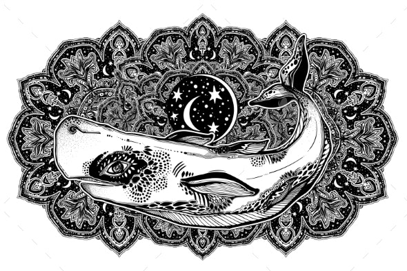 Highly Detailed Dreamy Surreal Wild Sperm Whale - Animals Characters