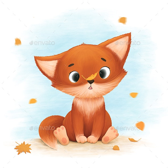 Little Fox Catches Autumn Leaves - Graphics