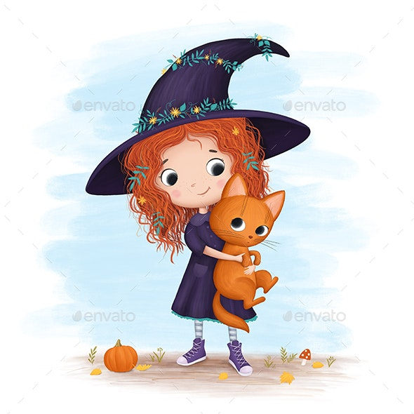 Little Witch Holding a Cat - Graphics