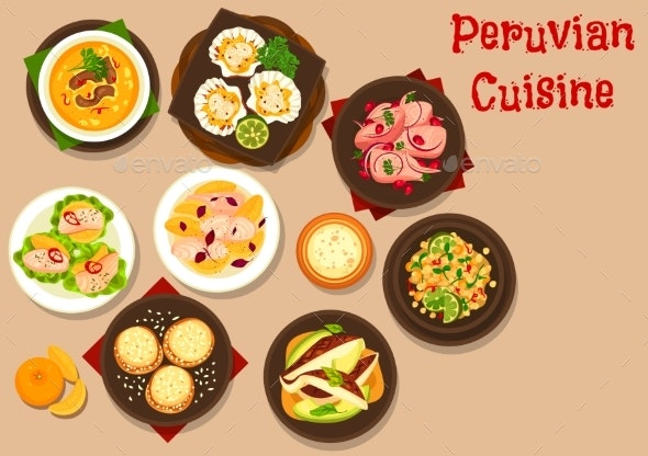 Peruvian Fish Ceviche, Meat Soup, Vegetable Salad - Food Objects