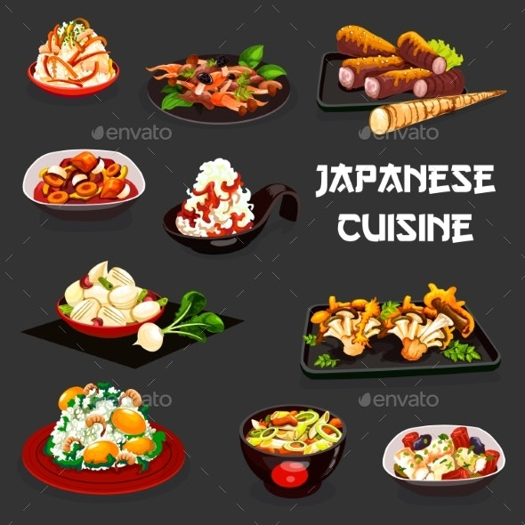 Japanese Food of Meat, Vegetables and Seafood - Food Objects