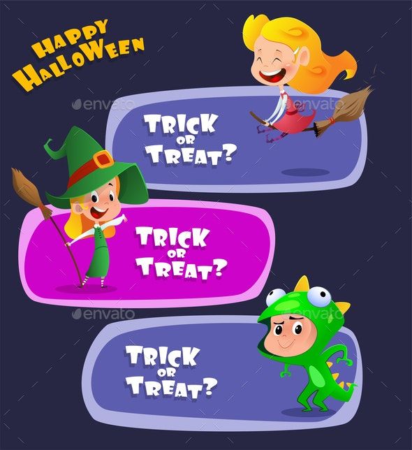 Set of Kids Wearing Halloween Costumes - Halloween Seasons/Holidays