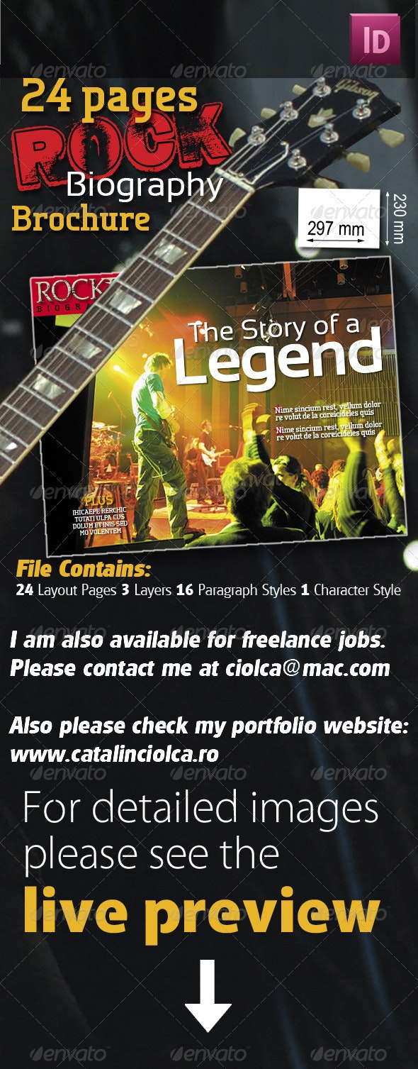 24 Pages Rock Biography Brochure - Magazines Print Templates