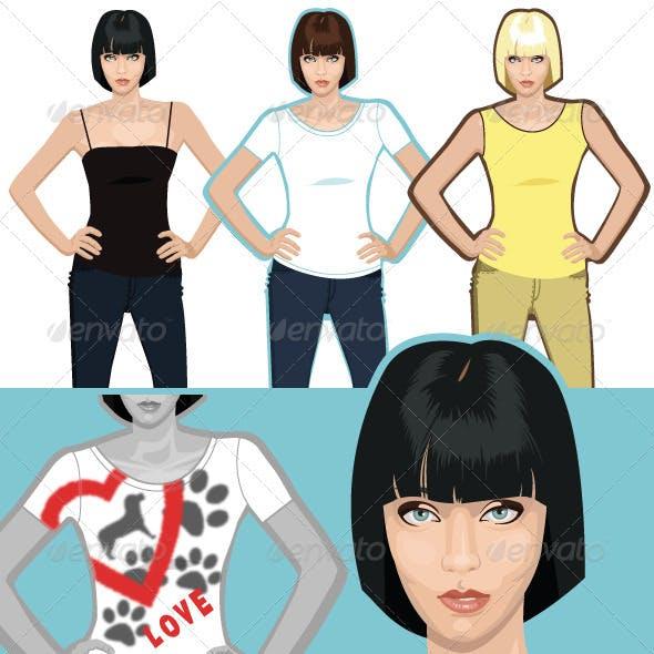 Lady T-shirt, Three Different Shirts.