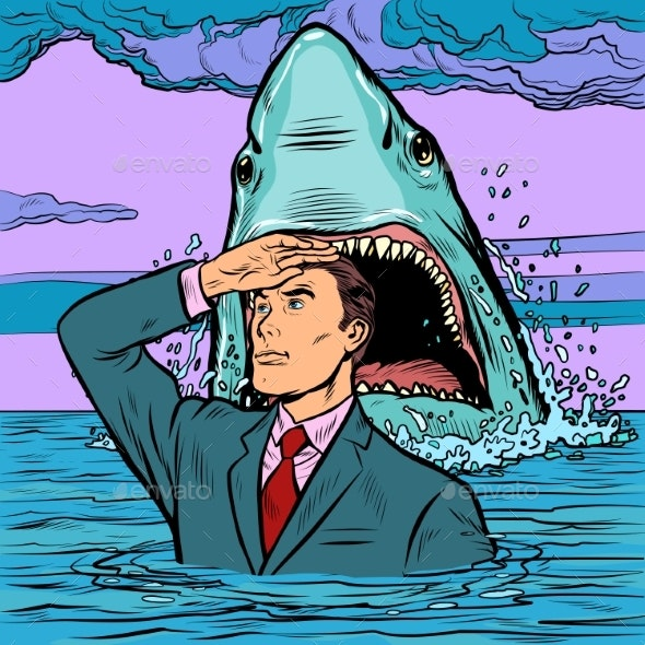 A Successful Businessman Is Not Afraid of a Shark - Animals Characters