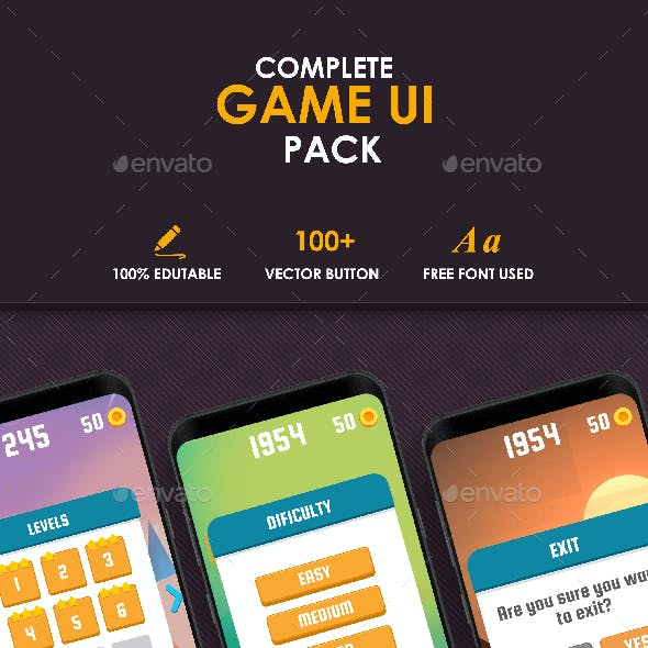 Flat Game UI Pack 2 Caual & Hyper Casual Game