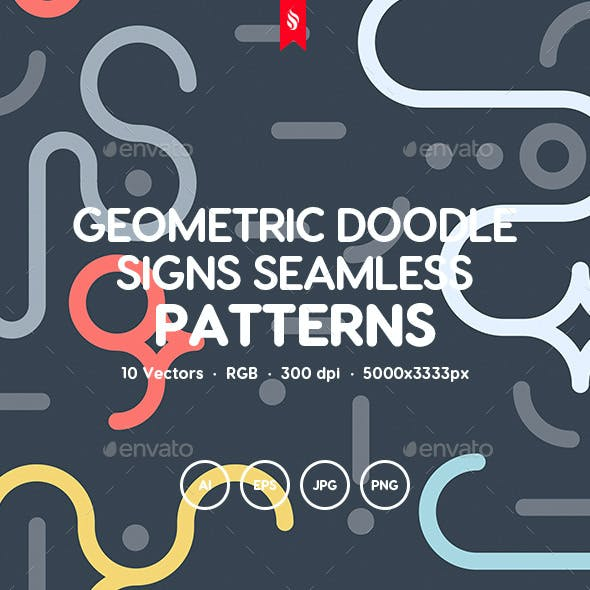 Geometric Doodle Signs Seamless Patterns
