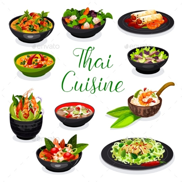 Thai Cuisine Soup, Salad and Spring Roll Dishes - Food Objects