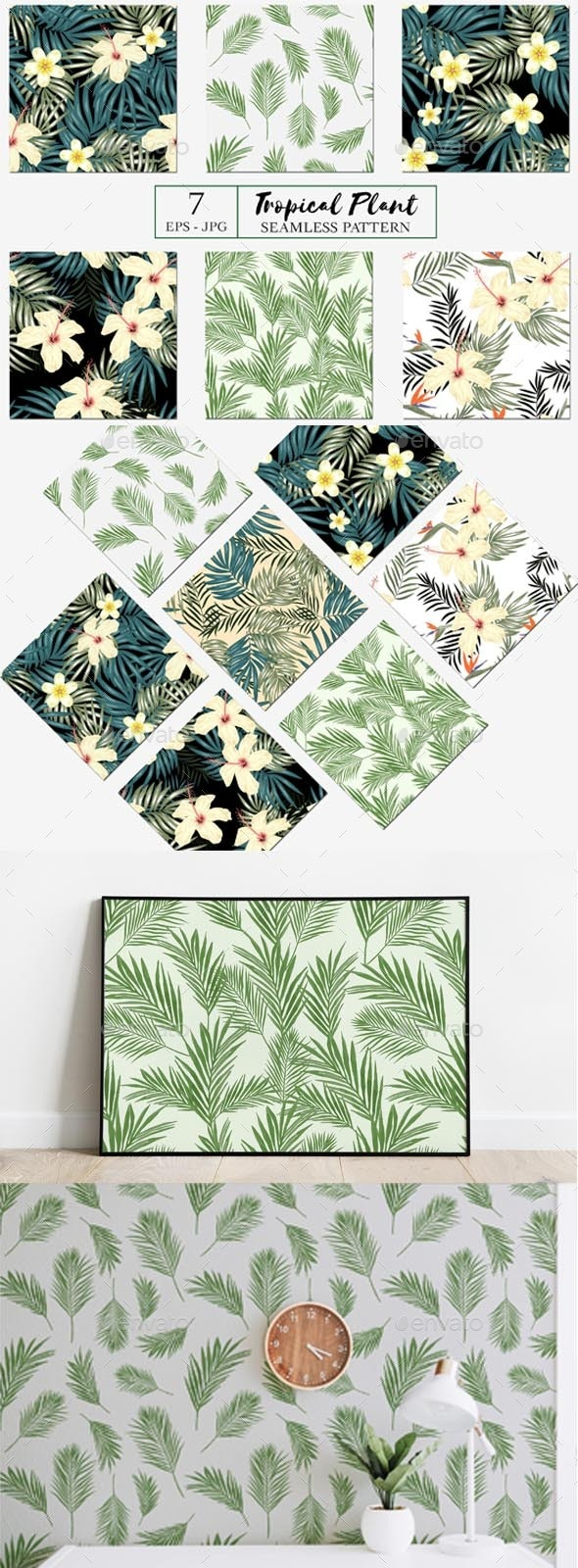 Seamless Patterns with Tropical Plants - Patterns Decorative