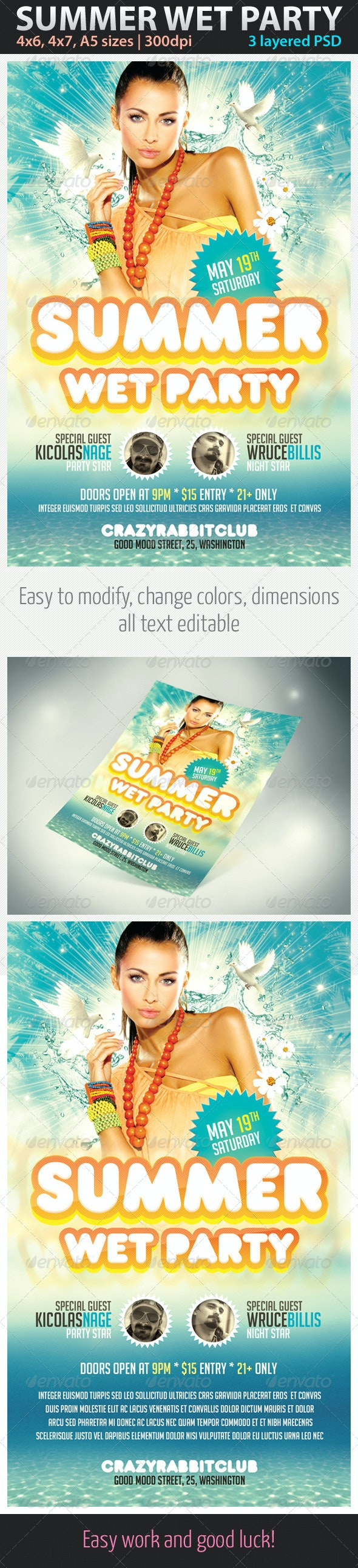 Summer Wet Party Flyer - Clubs & Parties Events