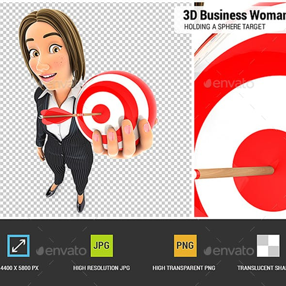 3D Business Woman Holding a Sphere Target