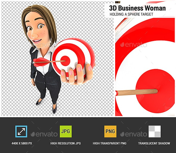 3D Business Woman Holding a Sphere Target - Characters 3D Renders