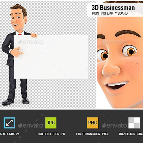 3D Businessman Pointing Empty Board