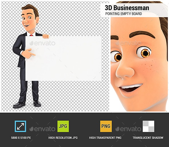3D Businessman Pointing Empty Board - Characters 3D Renders