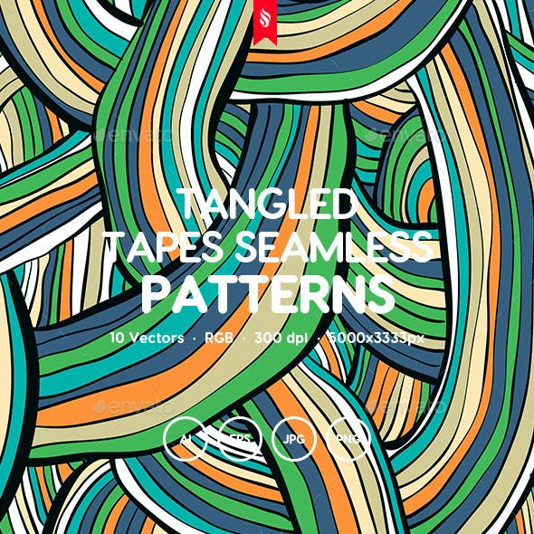 Tangled Tapes Seamless Patterns
