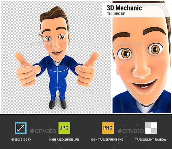 3D Mechanic Thumbs Up - Characters 3D Renders
