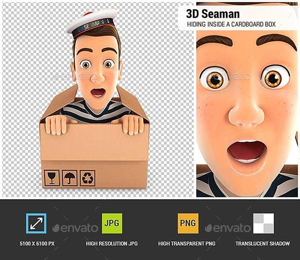 3D Seaman Hiding Inside a Cardboard Box - Characters 3D Renders