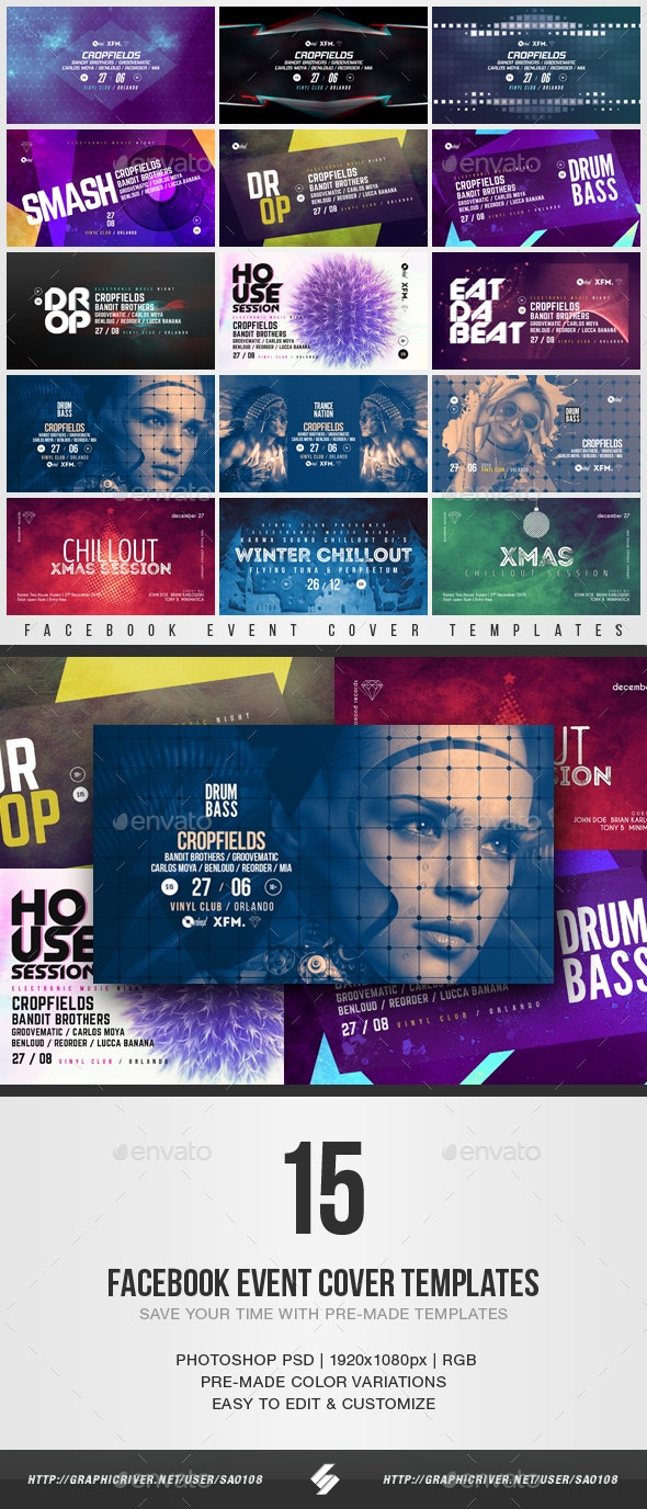 Electronic Music Club Night - Facebook Event Cover Templates Bundle - Social Media Web Elements