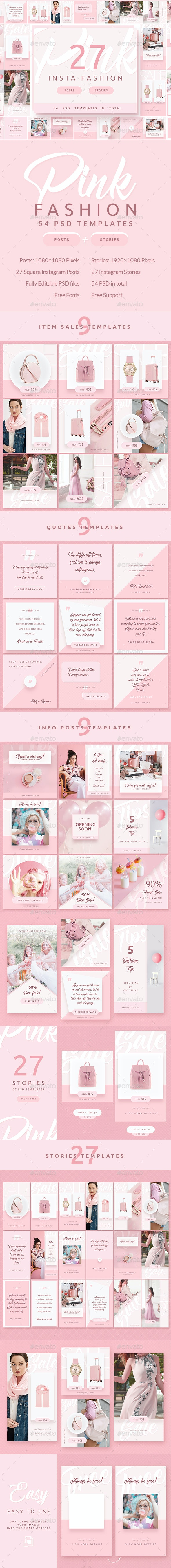 Pink Fashion - Instagram Posts & Stories - Miscellaneous Social Media