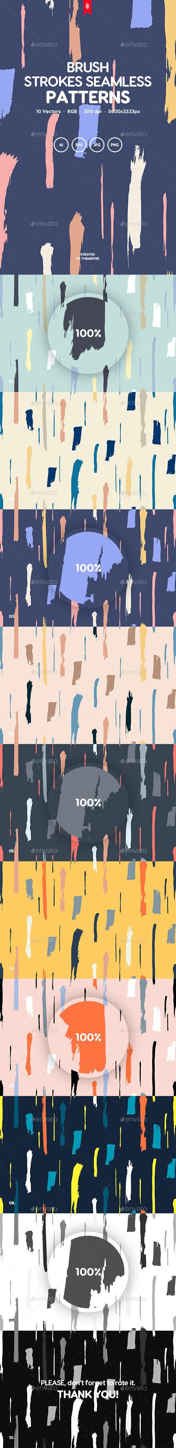 Brush Strokes Seamless Patterns - Patterns Backgrounds