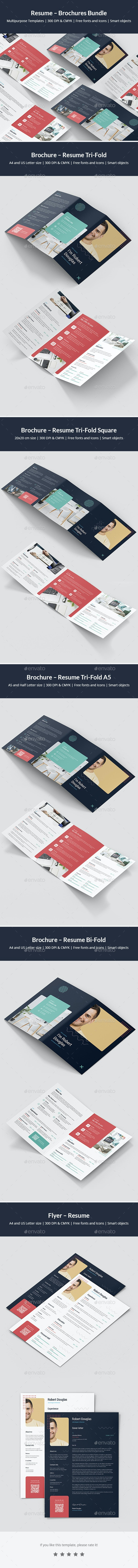Resume – Brochures Bundle Print Templates 5 in 1 - Informational Brochures