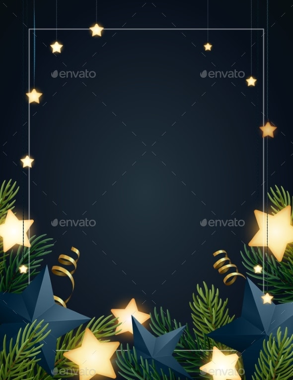 Christmas Background Design with Fir Tree Branches - Christmas Seasons/Holidays