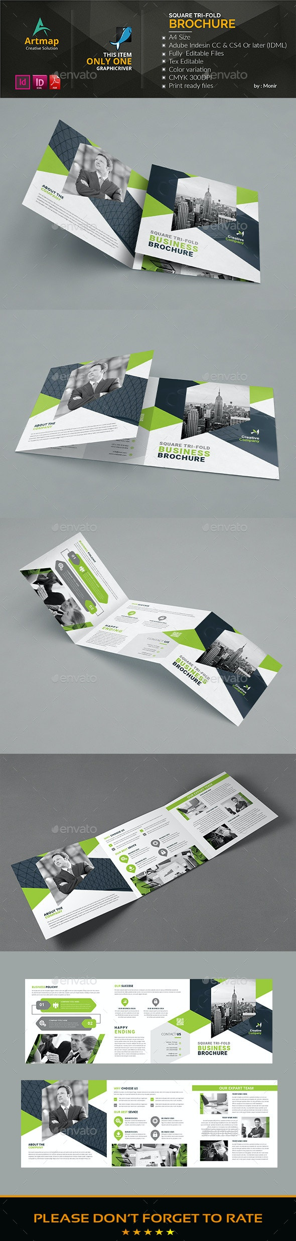 Square Ti-fold Brochure - Brochures Print Templates