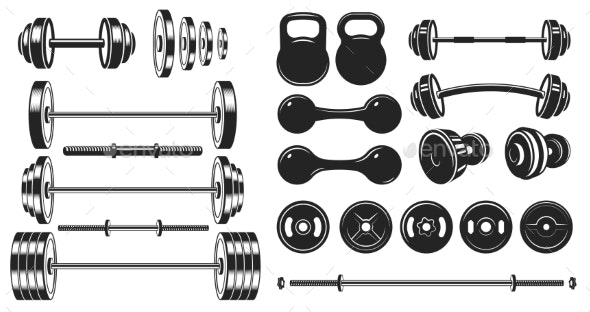 Gym Equipment Silhouettes - Sports/Activity Conceptual