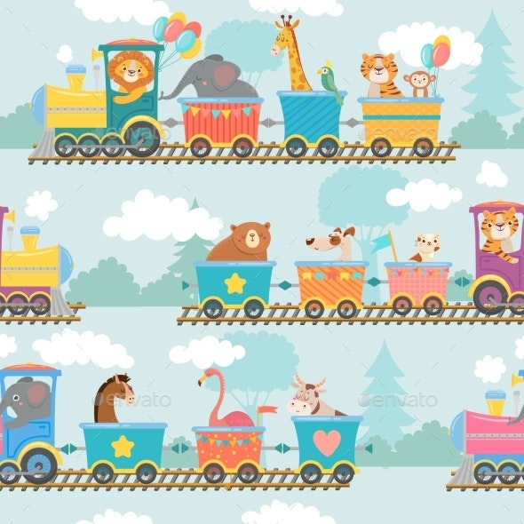 Seamless Animals on Train Pattern - Animals Characters