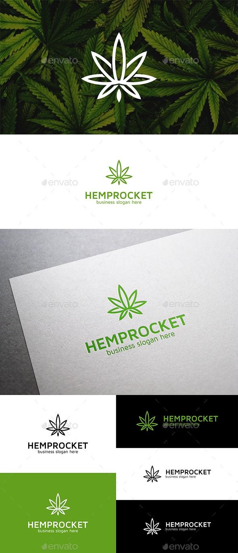 Hemp Rocket Cannabis Leaf Simple Logo - Nature Logo Templates