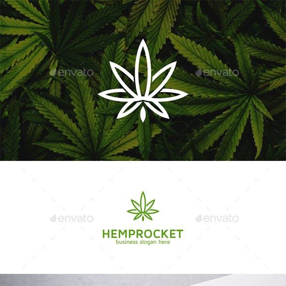 Hemp Rocket Cannabis Leaf Simple Logo