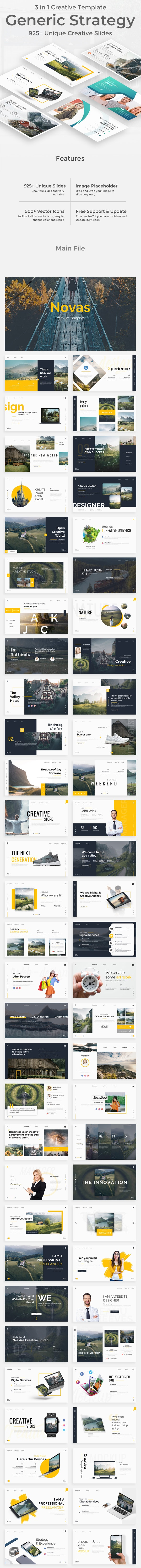 3 in 1 Generic Strategy Creative and Busniess Bundle Powerpoint Pitch Deck Template - Creative PowerPoint Templates