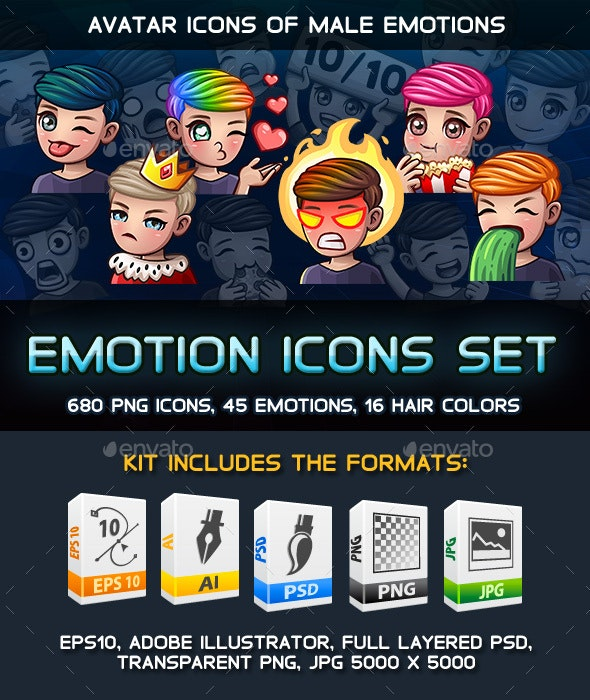 Cartoon Male Emotions Icons pack - People Characters