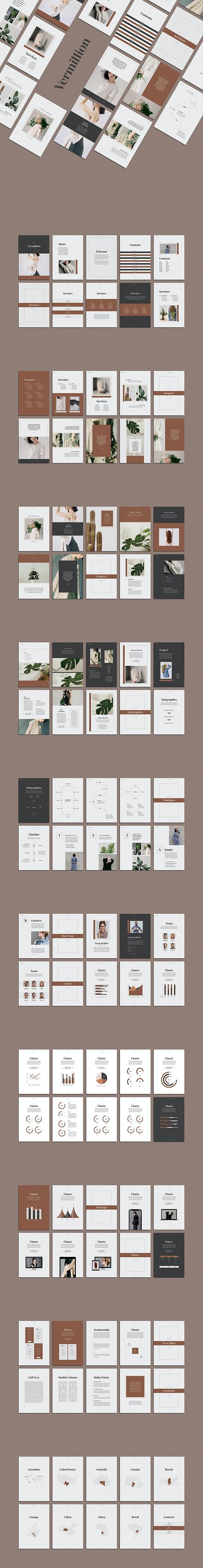 Vermillion Vertical PowerPoint Presentation - Pitch Deck PowerPoint Templates