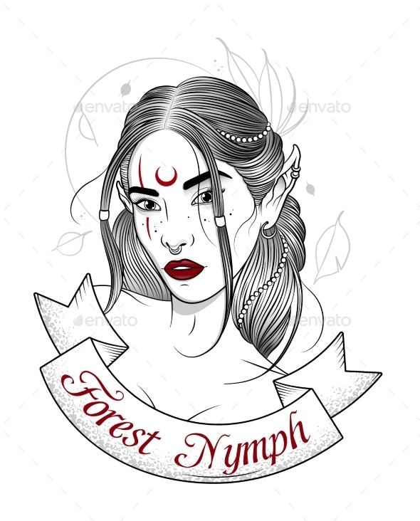 Tattoo of a Forest Nymph - Miscellaneous Vectors