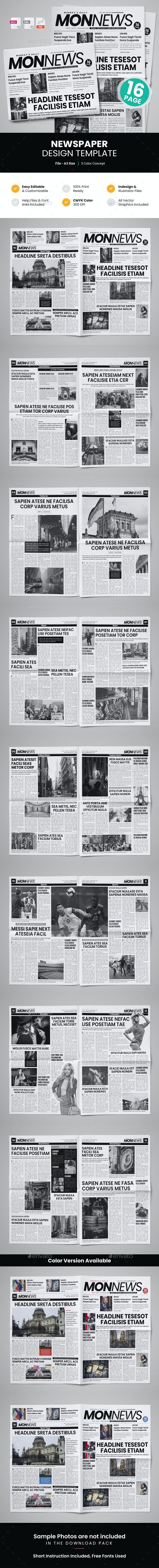 16 Page Newspaper Design v5 - Newsletters Print Templates