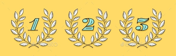Laurel Wreath Icon with Number One, Two, Three - Objects Vectors
