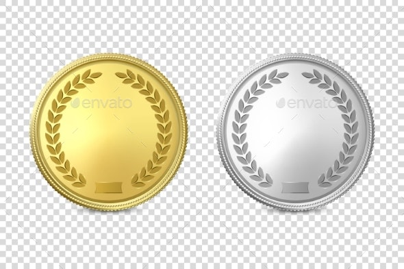 Vector 3d Realistic Blank Golden and Silver Metal - Miscellaneous Vectors
