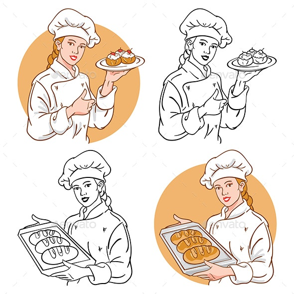 Female Pastry Chef - People Characters