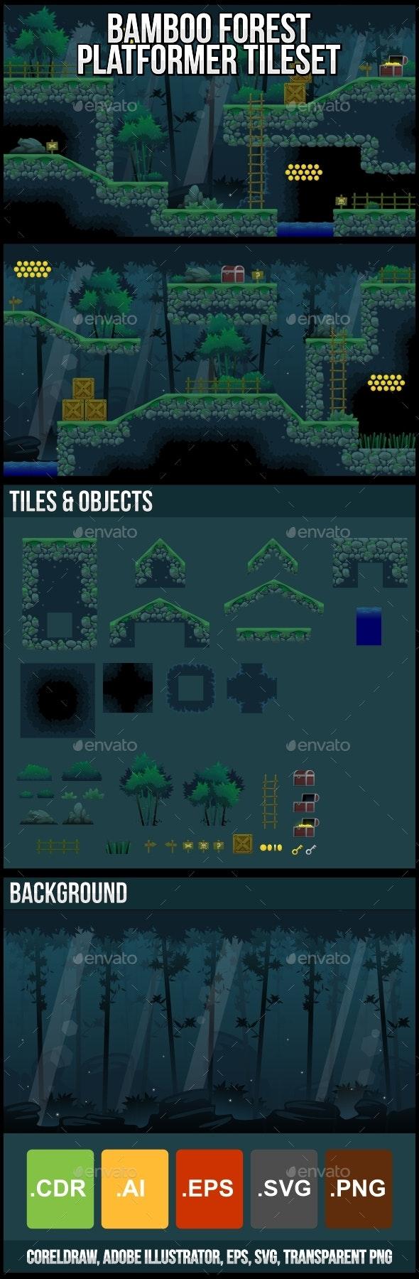 Bamboo Forest - Platformer Tileset - Tilesets Game Assets