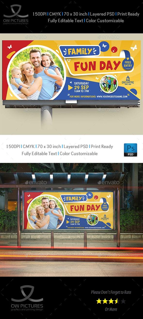 Family Fun Day Billboard Template - Signage Print Templates