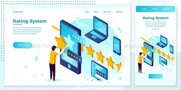 Vector Illustration Man with Stars, Rating System - People Characters